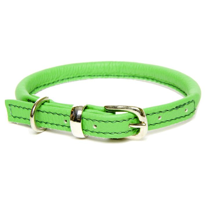 Obojek Rolled Leather Green designový kožený obojek pro psy