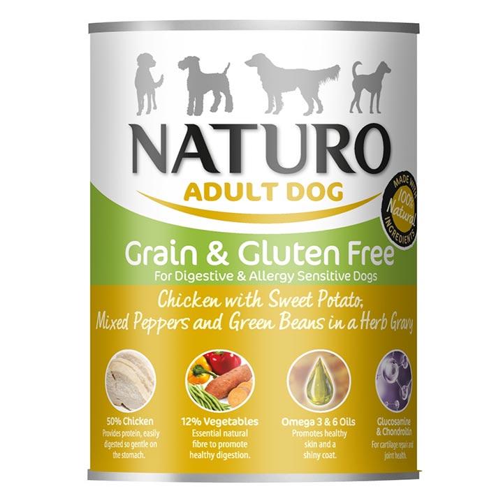 NATURO Grain & Gluten Free Kuře se sladkými brambory konzerva pro psa