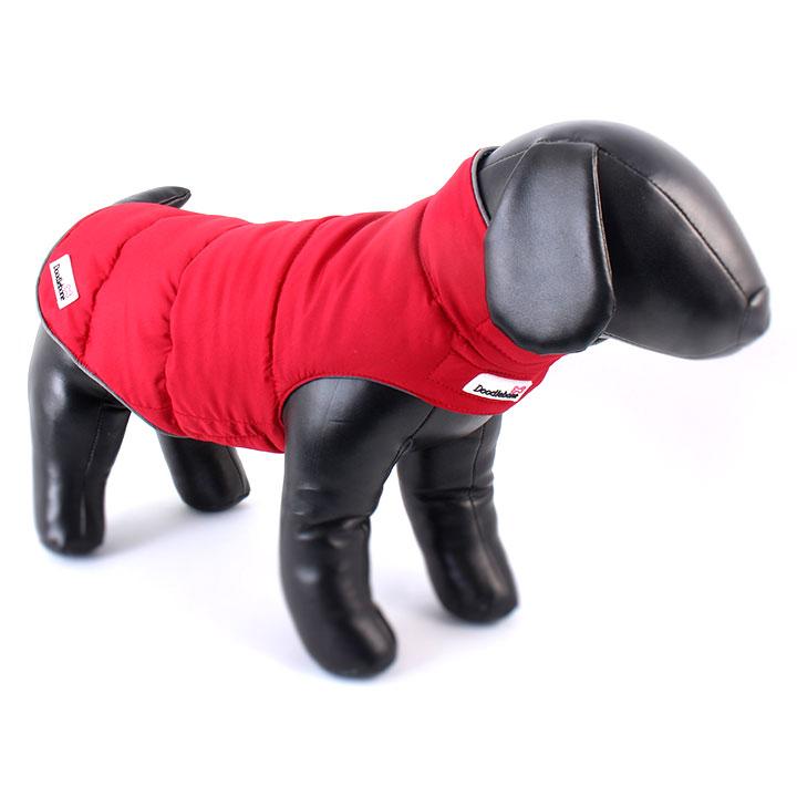 Oboustranná zimní bunda Red / Grey pro psy pre psov Doodlebone